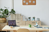 Background image of cozy home office workplace with natural design and cute details, copy space