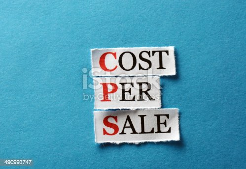 CPS cost per sale, words on cut paper hard light