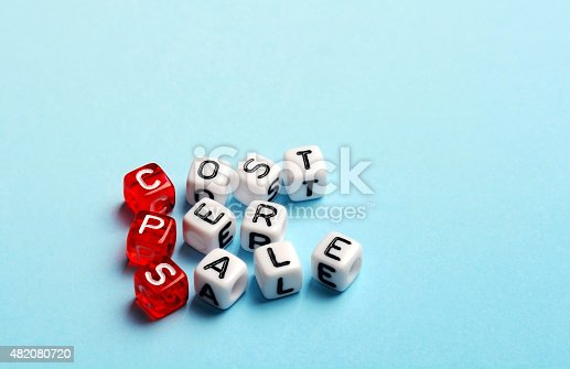 CPS Cost Per Sale written on dices on blue background