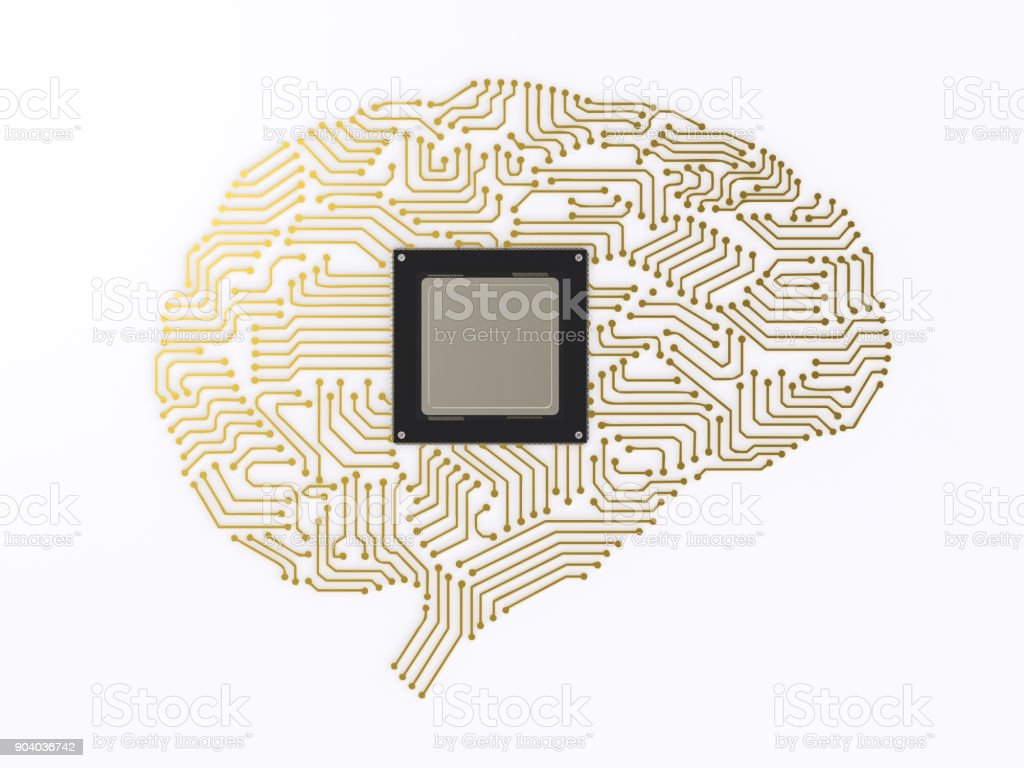 cpu ai brain stock photo