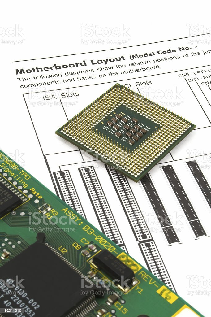 cpu and board royalty-free stock photo
