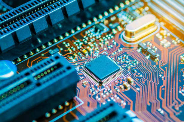 Cpu chipset on printed circuit board (pcb) close up. stock photo