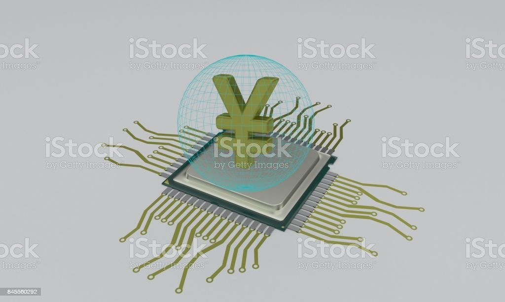 Cpu circuit diagram and yen, 3d stock photo
