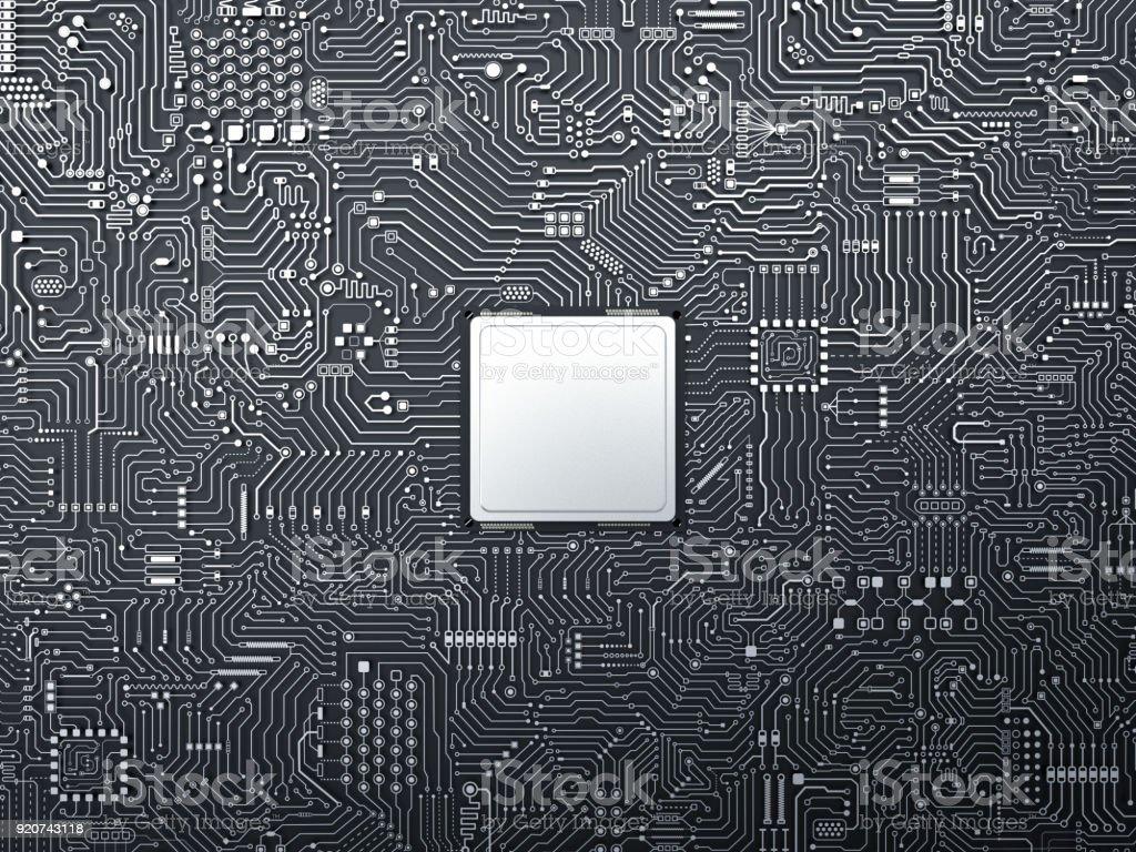cpu on circuit board stock photo