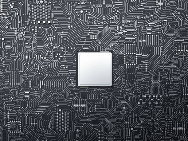 cpu on circuit board stock photo