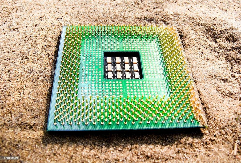 cpu on sand stock photo