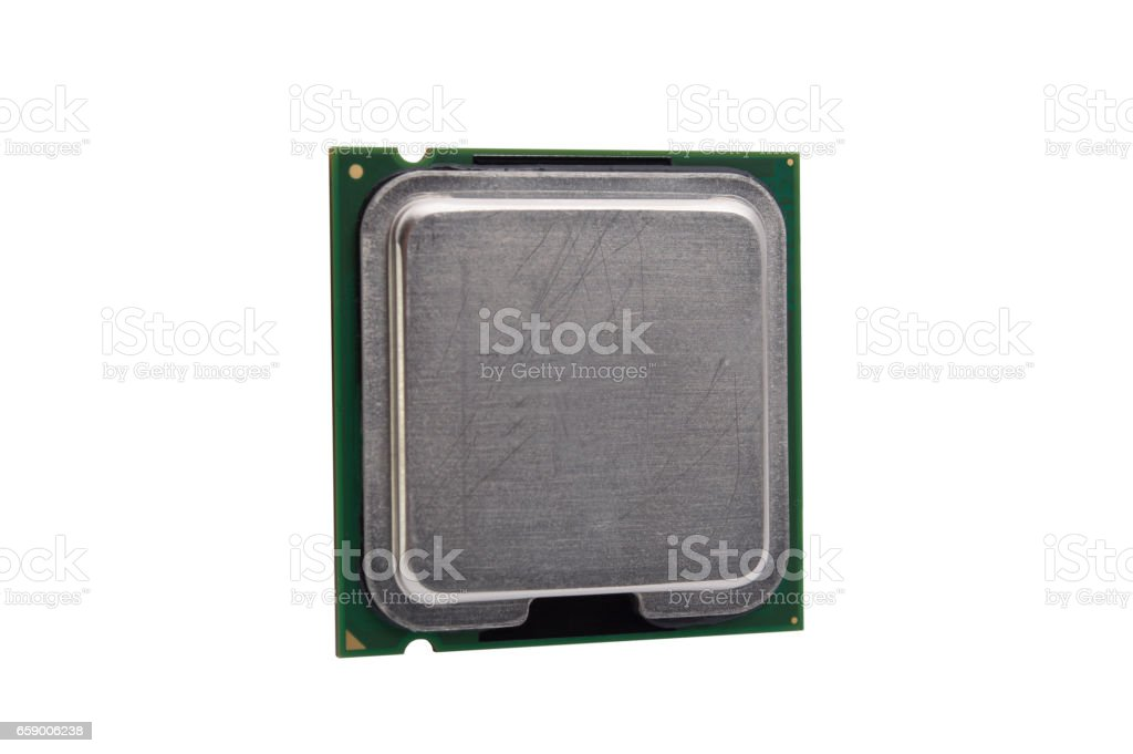 Cpu processor isolated on white background stock photo