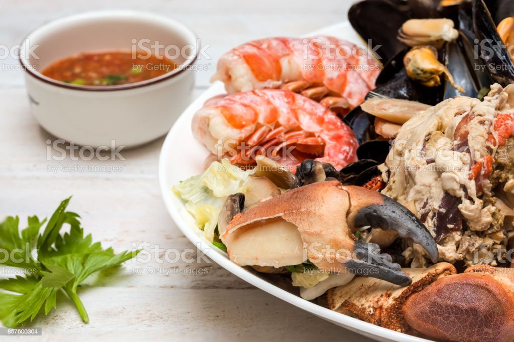 crab and mussels stock photo