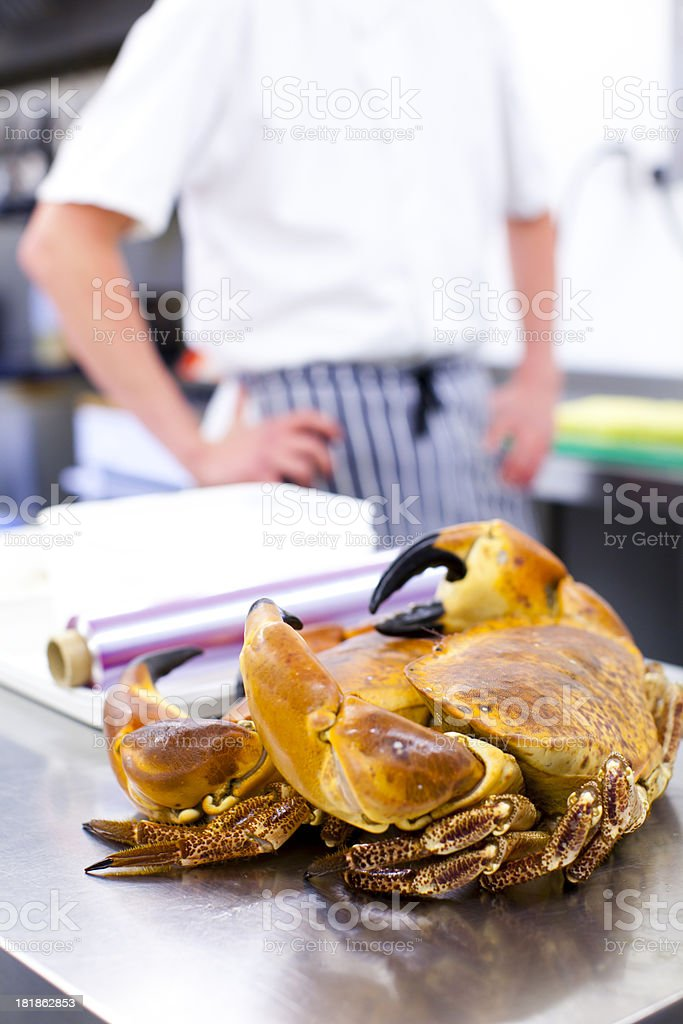 Crab being prepared by a chef in the kitchen royalty-free stock photo