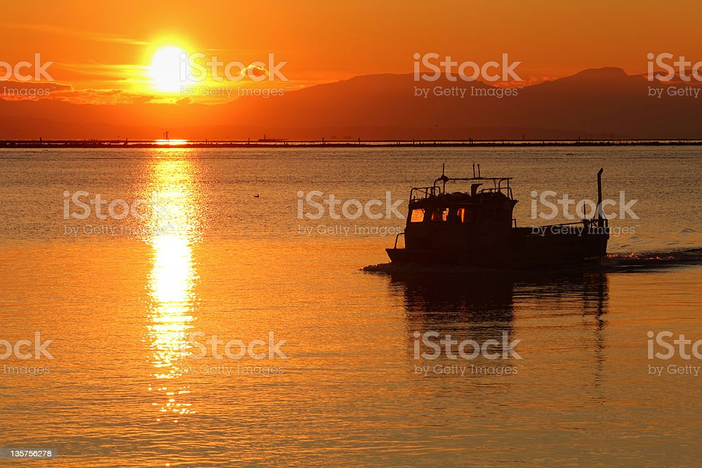 Crab Boat Returning, Georgia Strait, Vancouver royalty-free stock photo