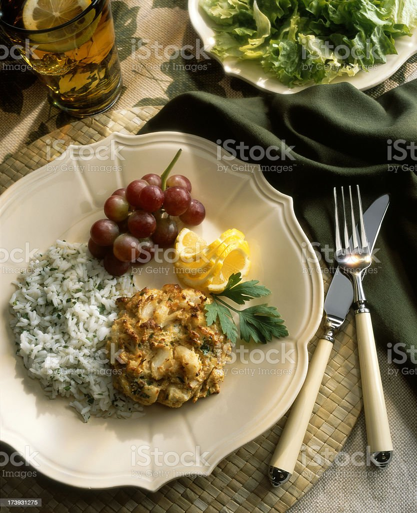 Crab Cake Meal stock photo