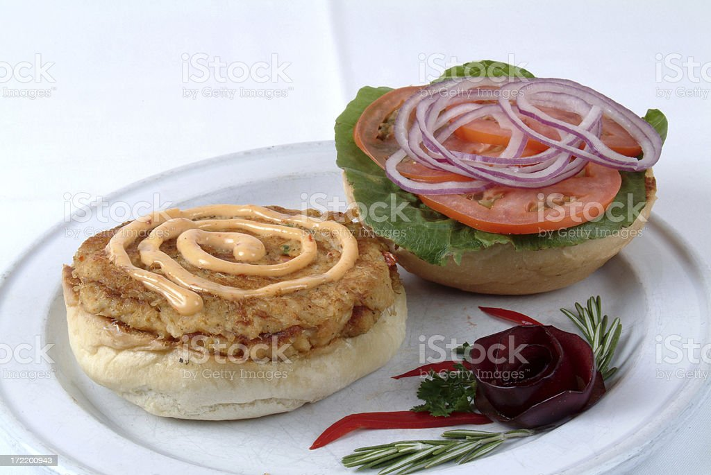 Crab Cake Sandwich Open Face royalty-free stock photo