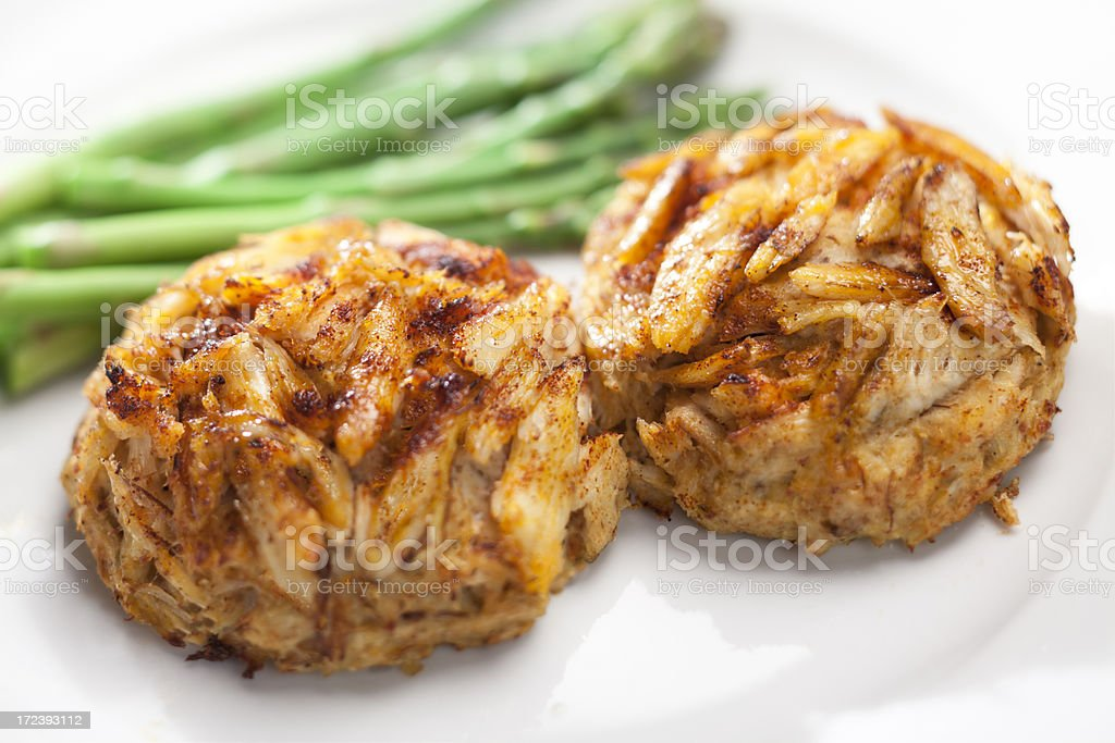 Crab Cakes with Asparagus stock photo