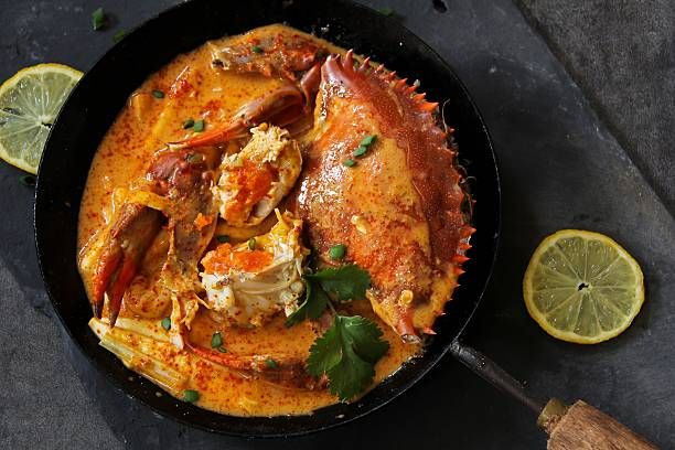 Crab Curry in coconut milk stock photo