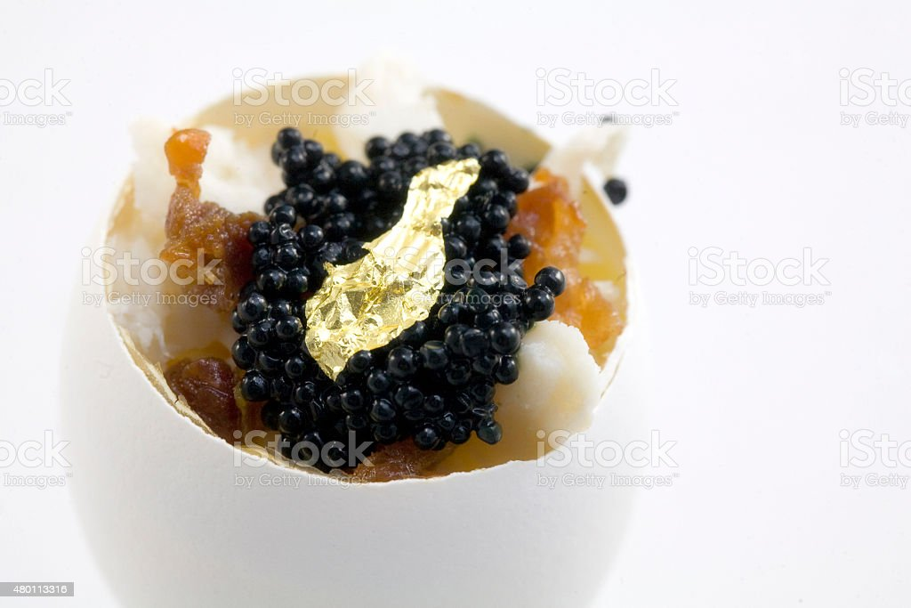Crab Flan with Prosciutto and Caviar stock photo
