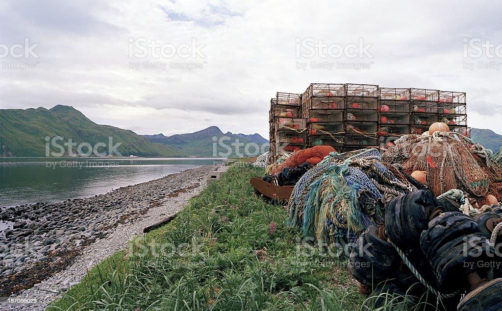 Crab Pots, Nets, and Ropes,  Dutch Harbor, Alaska stock photo