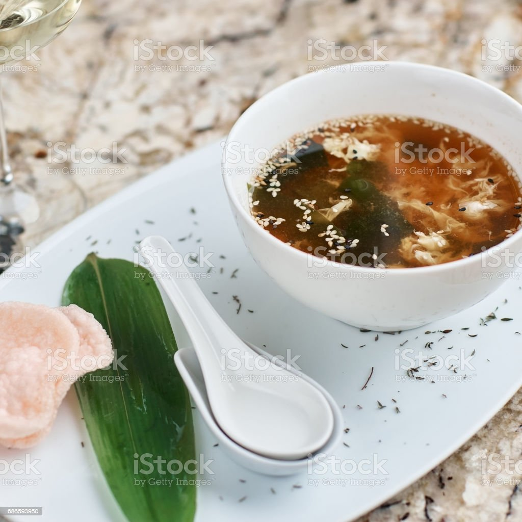 Crab soup in white bowl royalty-free stock photo