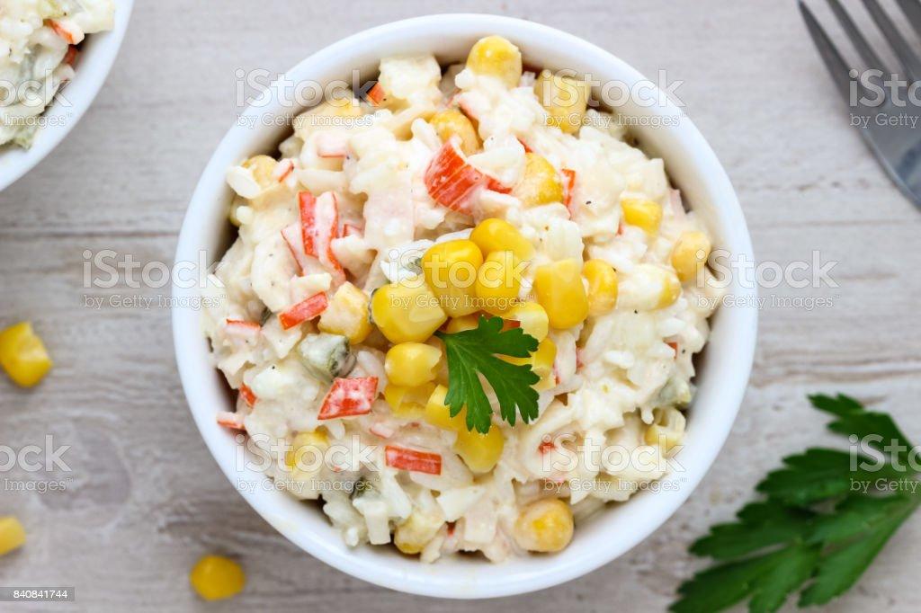 Crab Stick Salad with Rice stock photo