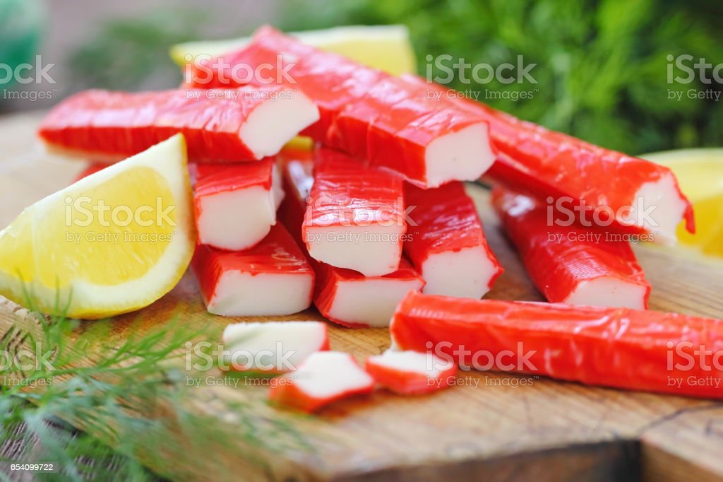 Crab sticks prepared for eating stock photo