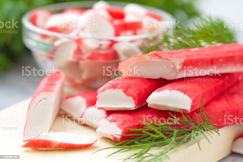 Crab sticks prepared for eatting stock photo