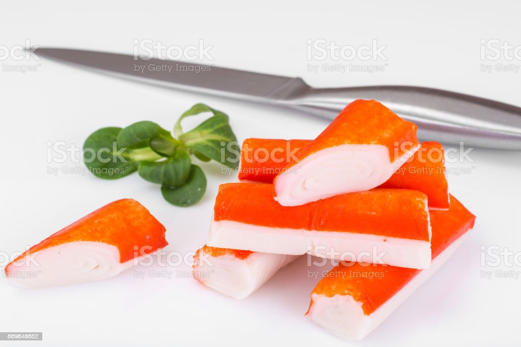 Crab sticks with lettuce stock photo