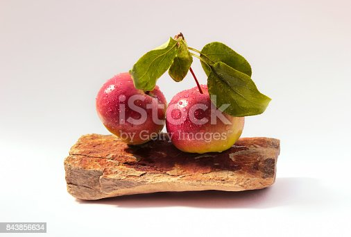 Water drops on red crabapples displayed on a rock isolated on a white background