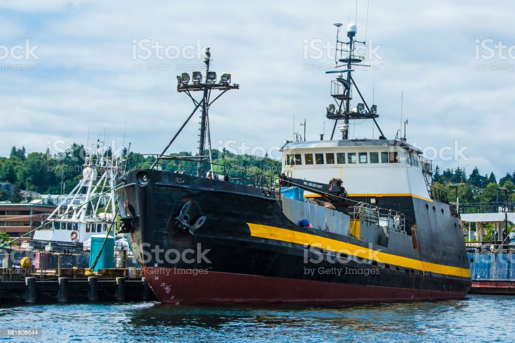 Crabber/Tender, Courageous at Fishermen's Terminal, Seattle stock photo