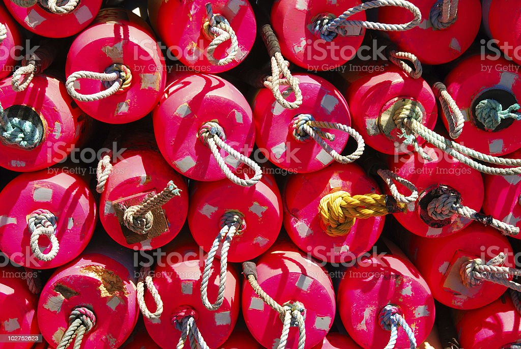 crabbing buoys stock photo
