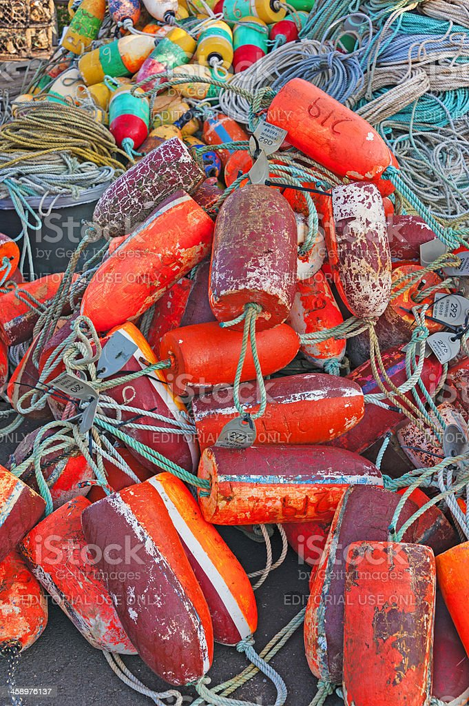 Crabbing Floats with Ropes royalty-free stock photo