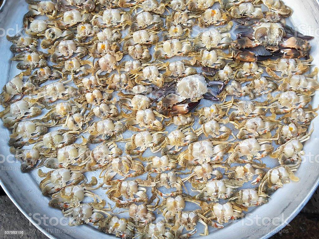 Крабы Необработанные свежие в рынке морепродуктов стоковое фото