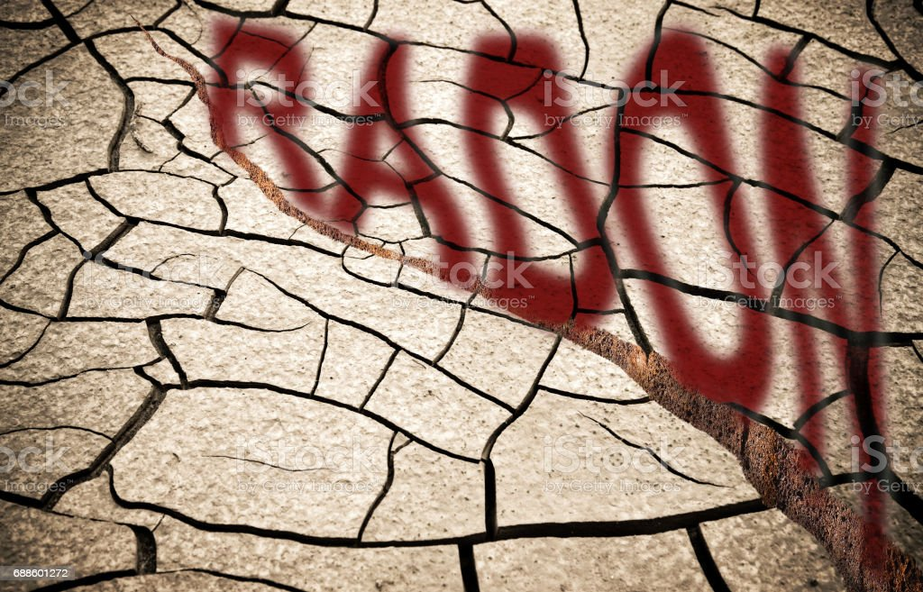 A crached ground with radon gas escaping - concept image with copy space stock photo