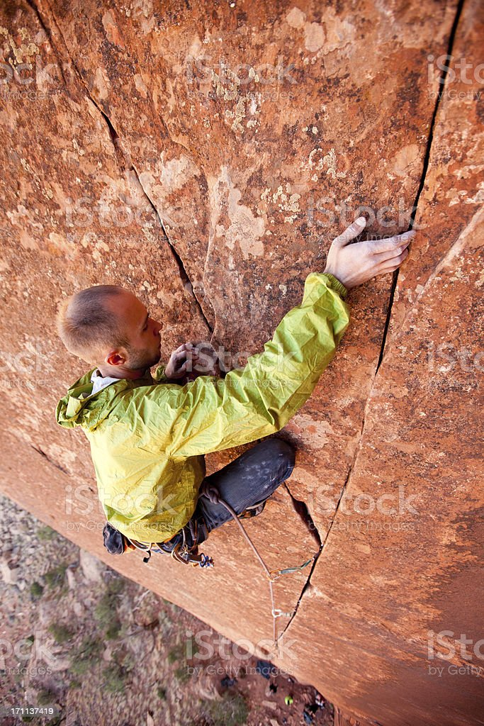 Crack Climbing in Utah at Indian Creek stock photo