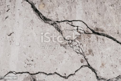 istock Crack concrete wall. Old dirty cracked wall texture. Gray stone background. Abstract pattern of grunge floor. Messy damage worn of broken building. 1155462154
