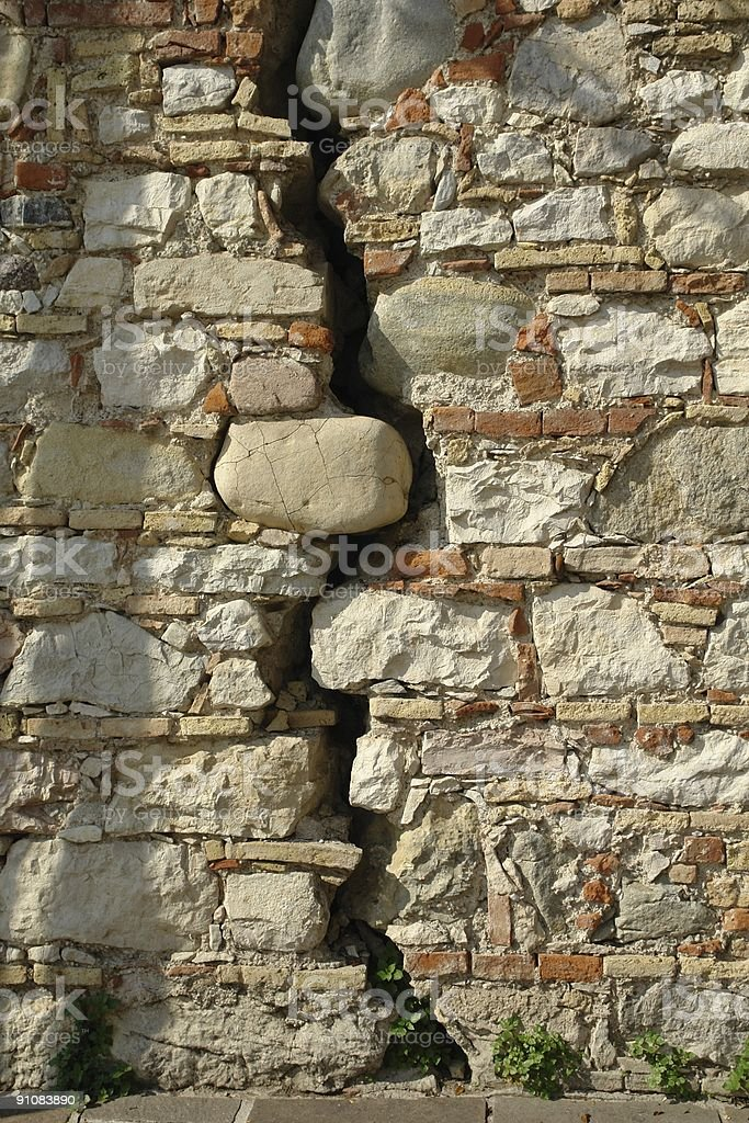 Crack in old stony wall as a drop off diagram royalty-free stock photo