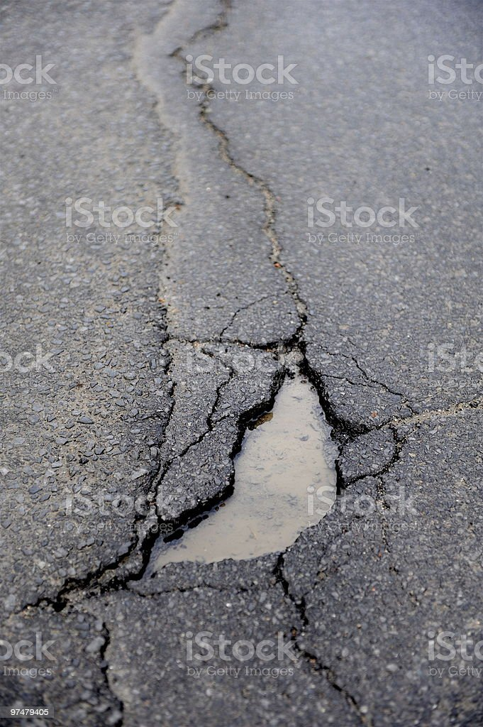 Crack in road royalty-free stock photo