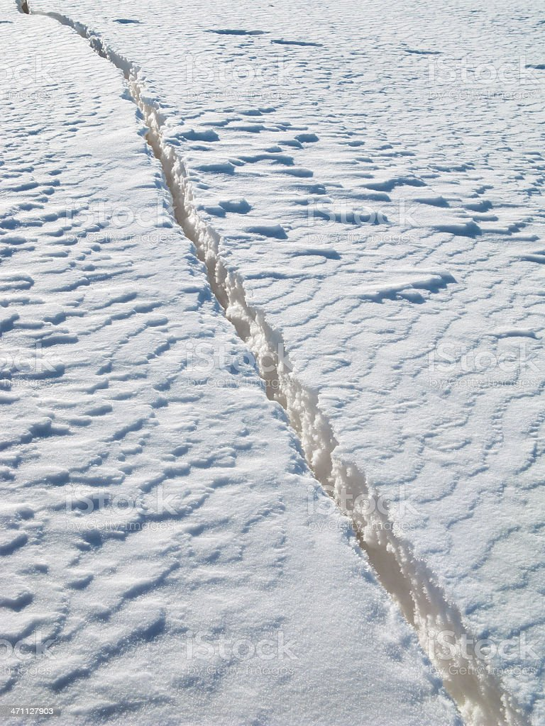 Crack in the snow. royalty-free stock photo