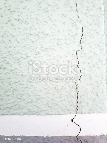 Crack in wall at building house