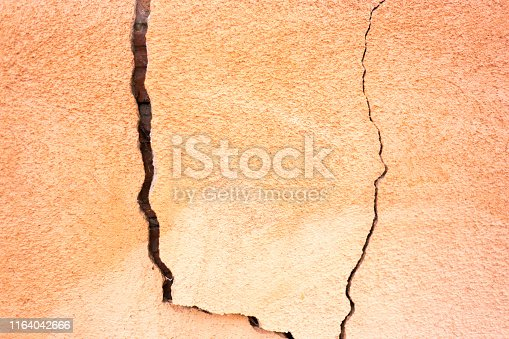 Cracked Adobe Wall Close-Up. Copy space available. Shot in Santa Fe, NM.