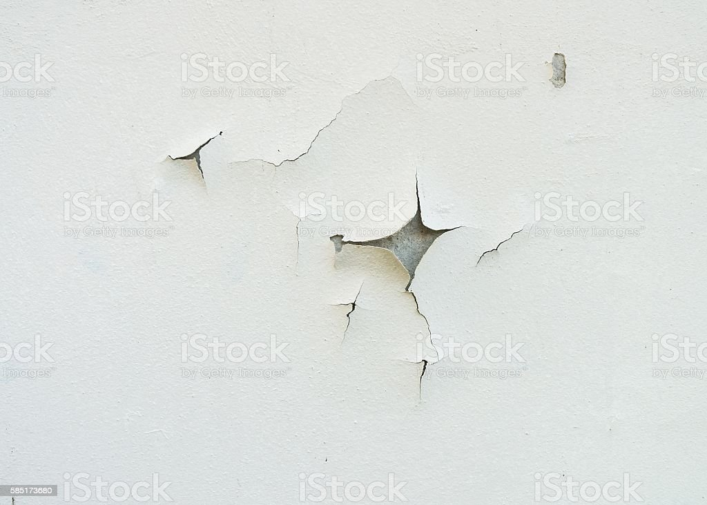Cracked and aged white wall facade texture or background. stock photo