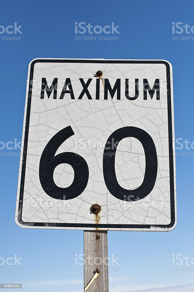 Cracked and Rusted Maximum 60 Sign royalty-free stock photo