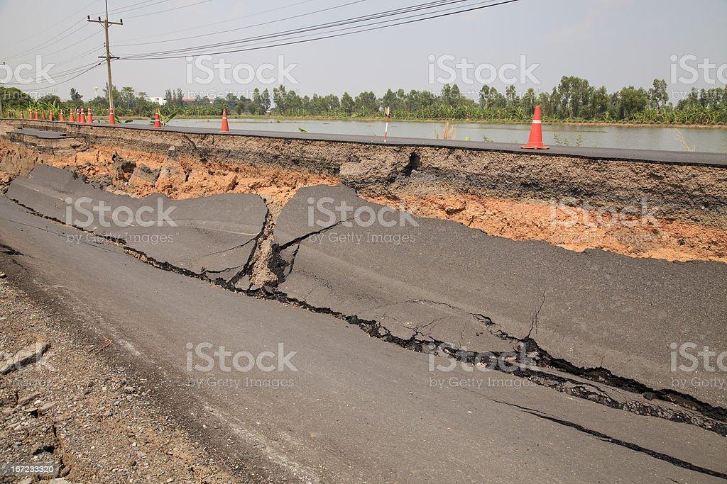 Cracked asphalt road royalty-free stock photo