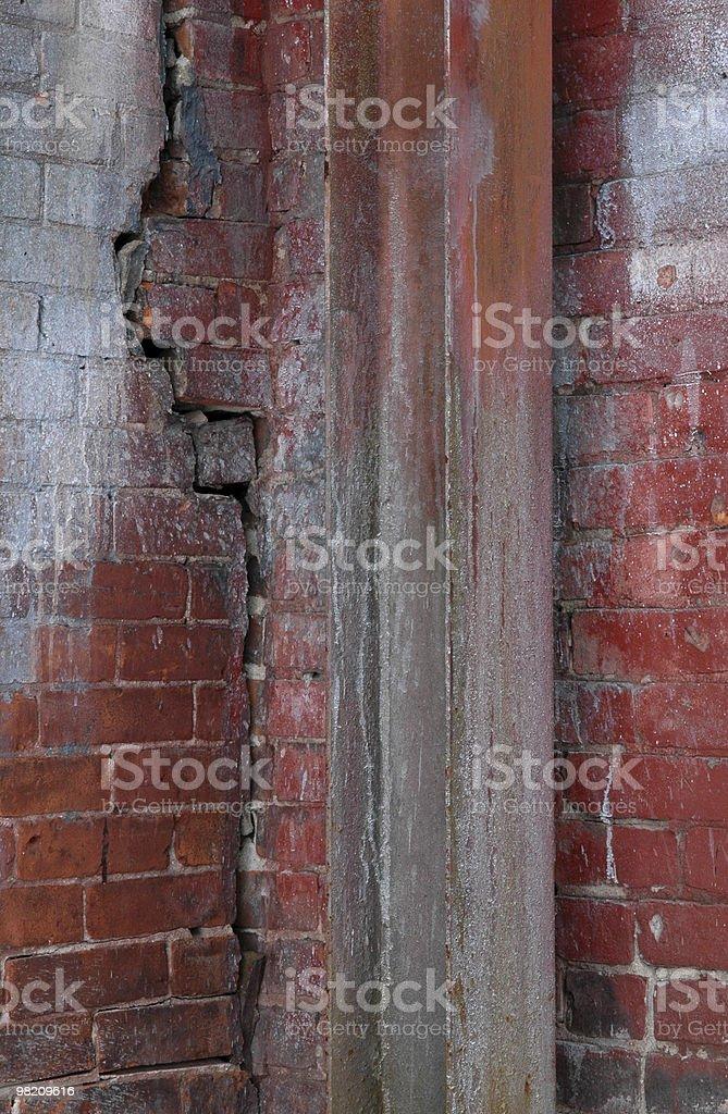 Cracked brick wall and girder. stock photo