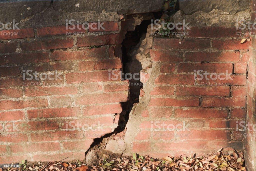 Cracked brickwall stock photo