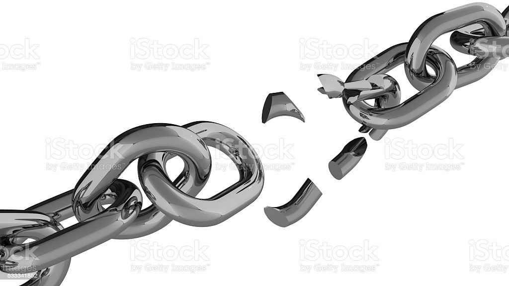 Cracked chain against white background stock photo