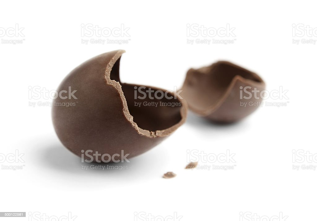 Cracked chocolate egg stock photo
