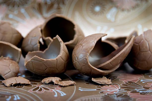 Cracked Chocolate Eggs stock photo