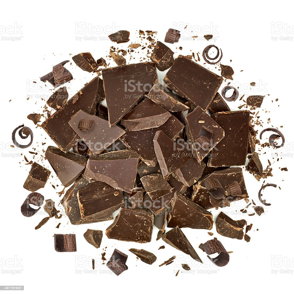 Cracked chocolate pile and curls stock photo