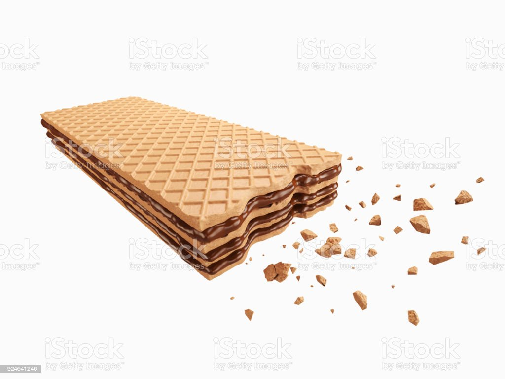 Cracked chocolate wafer flavor stock photo