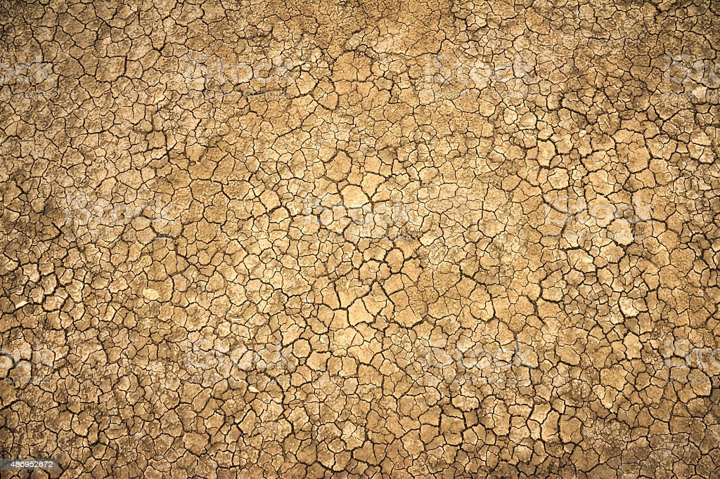 cracked clay ground into the dry season stock photo