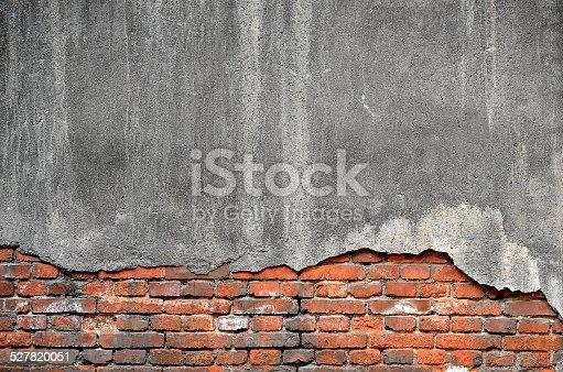 Broken concrete brick wall background